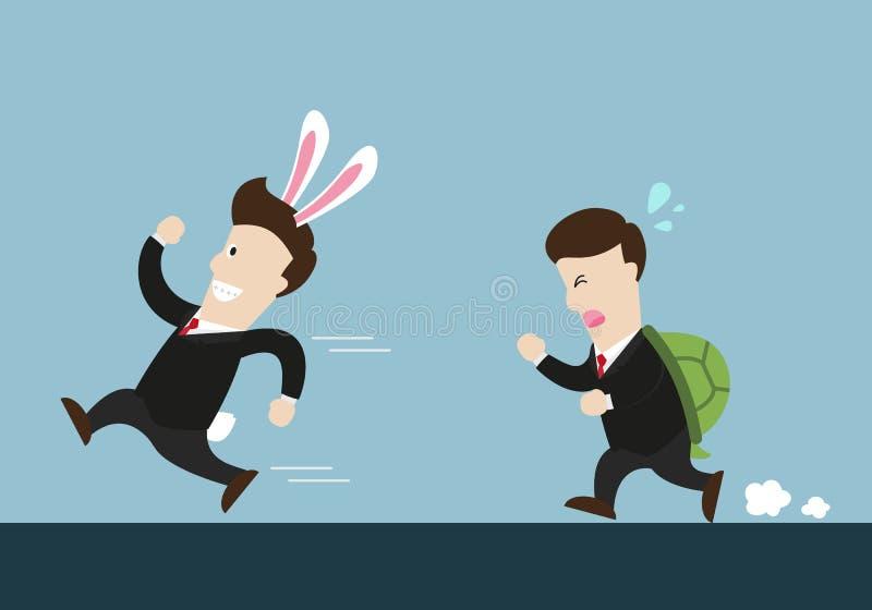 El hombre de negocios y la tortuga uno del conejo están en la competencia de funcionamiento stock de ilustración