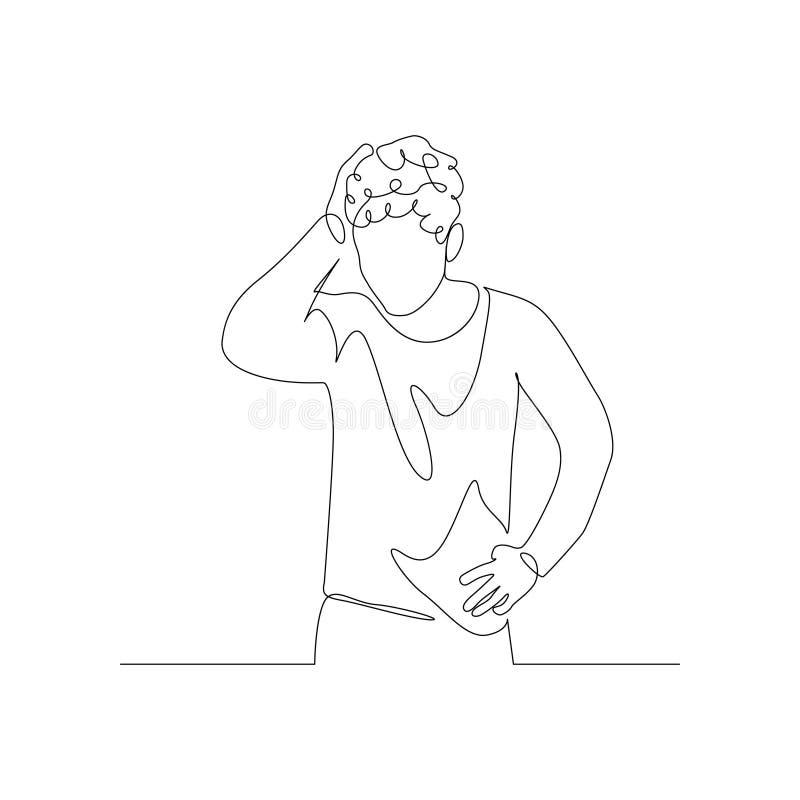El hombre de una línea contínuo aprieta el cabello de la cabeza con la mano Estrés y depresión Ilustración del vector stock de ilustración