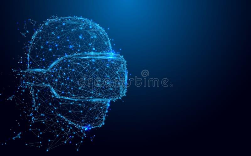 El hombre de Wireframe con la malla de la muestra de las auriculares de VR de un estrellado y comienza para arriba el fondo del c ilustración del vector