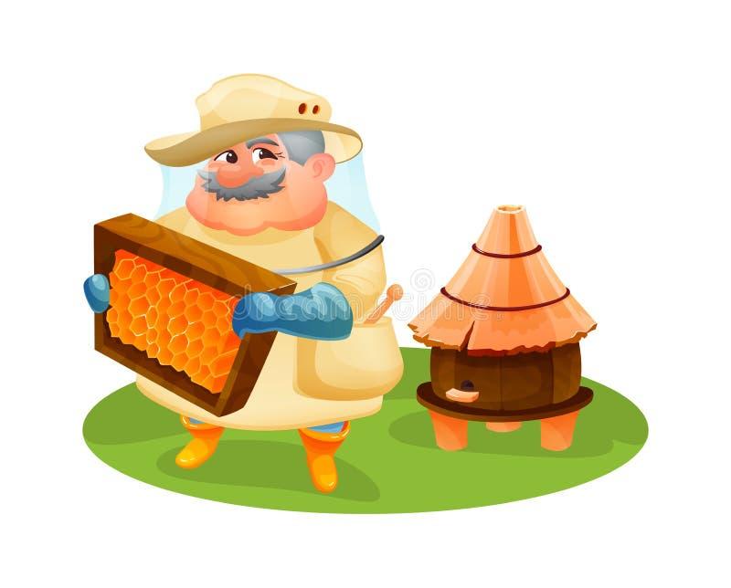 El hombre del apicultor examina un marco de madera con los panales libre illustration