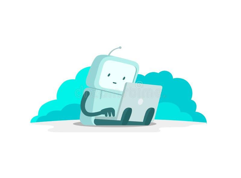 El hombre del astronauta del robot se sienta con el ordenador portátil Búsqueda en el Internet El practicar surf de Internet Pagi stock de ilustración