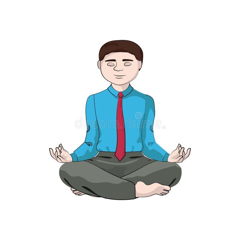 El hombre del hombre de negocios, muchacho se sienta en una actitud de la yoga ilustración del vector