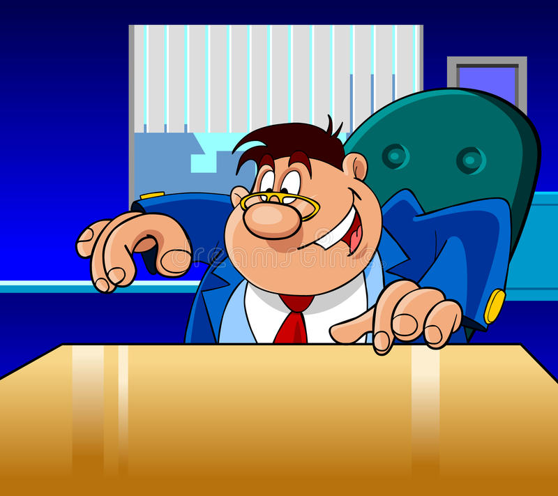 El hombre del director de la historieta muestra feliz libre illustration