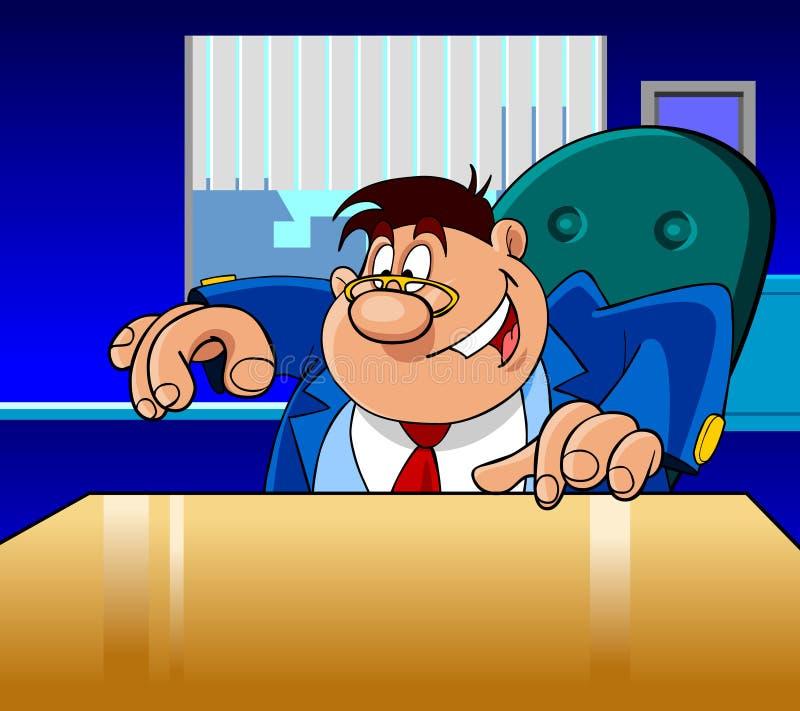 El hombre del director de la historieta muestra feliz stock de ilustración