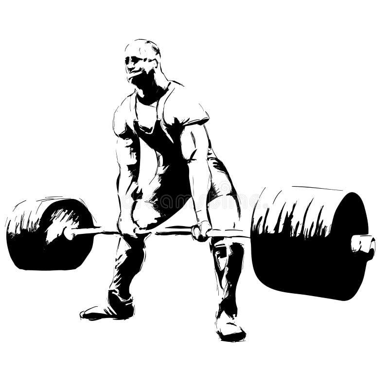 El hombre del ejemplo con el deadlift del barbell ilustración del vector