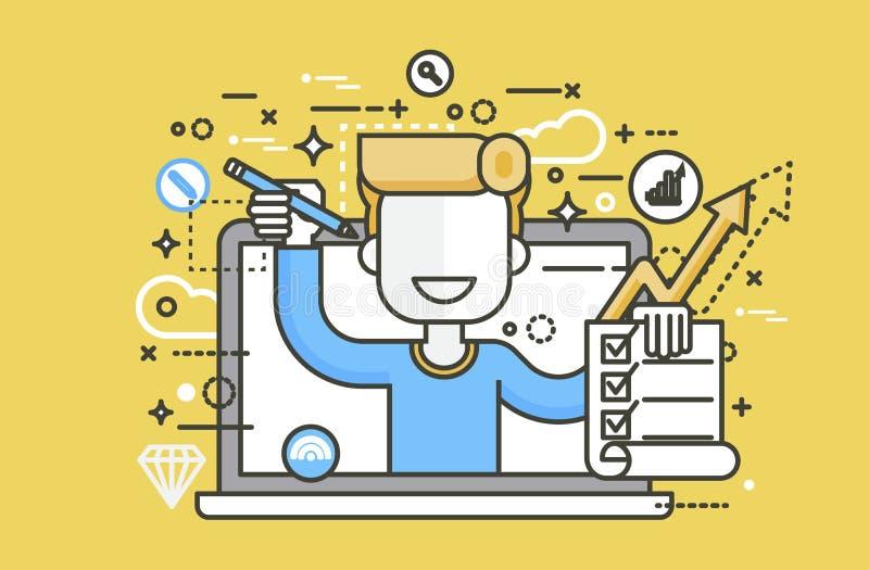 El hombre del ejemplo del vector en ofertas del cuaderno del ordenador portátil completa la educación del elemento del diseño del libre illustration