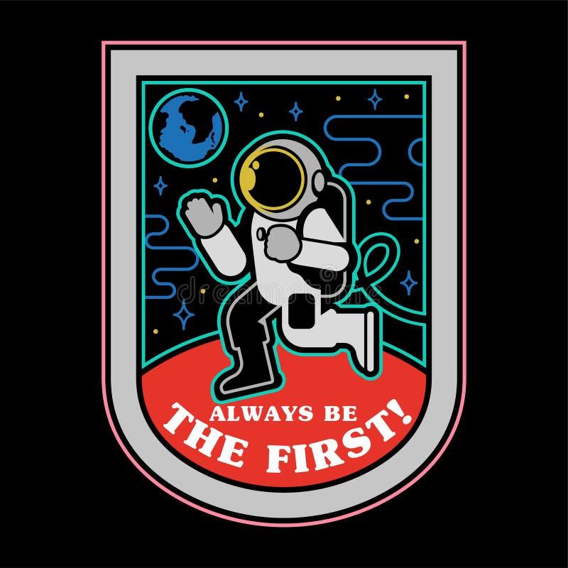 El hombre del espacio encendido estropea la impresión de la etiqueta engomada del remiendo libre illustration