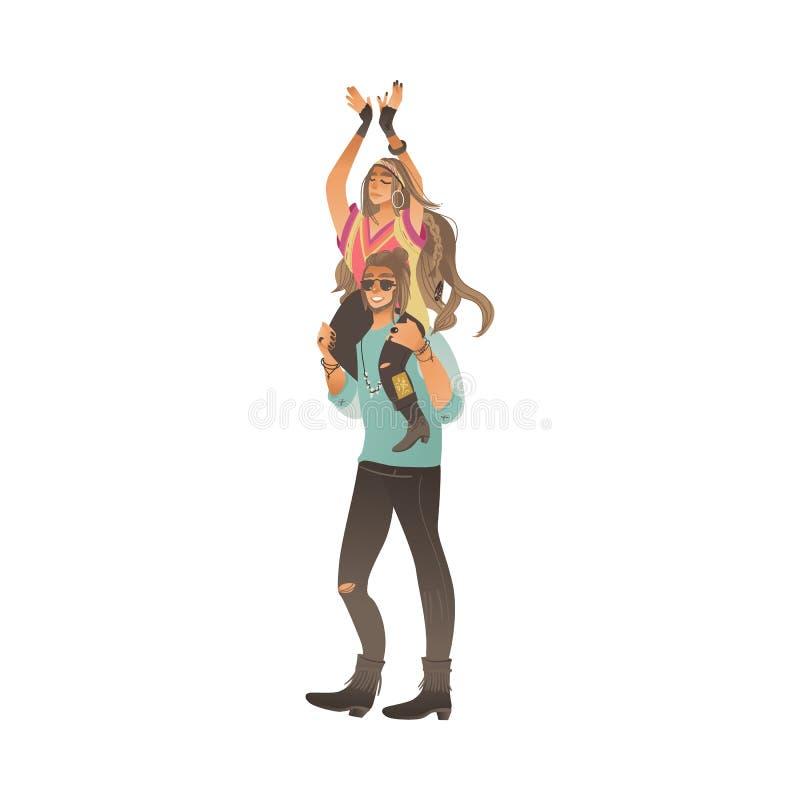 El hombre del estilo de Boho se coloca que detiene a la mujer en su estilo de la historieta de los hombros ilustración del vector