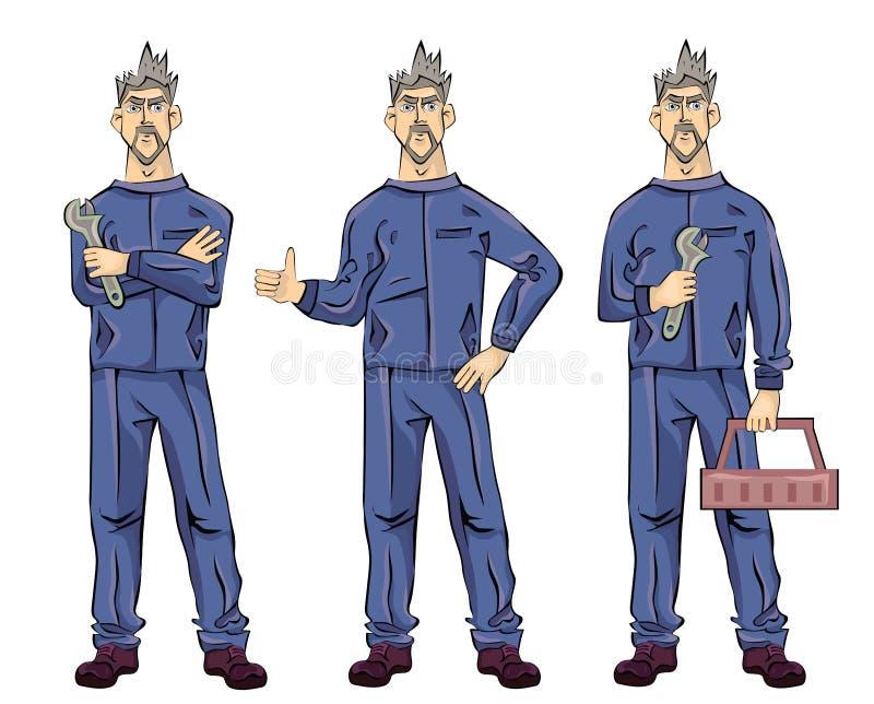 El hombre del fontanero del mecánico o del ajustador que sostiene una llave, caja de herramientas y mostrando manosea con los ded ilustración del vector