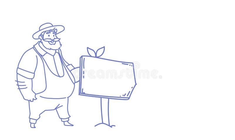 El hombre del granjero que coloca bosquejo vacío de la dirección de la manera del tablero de la muestra del espacio de la copia g stock de ilustración