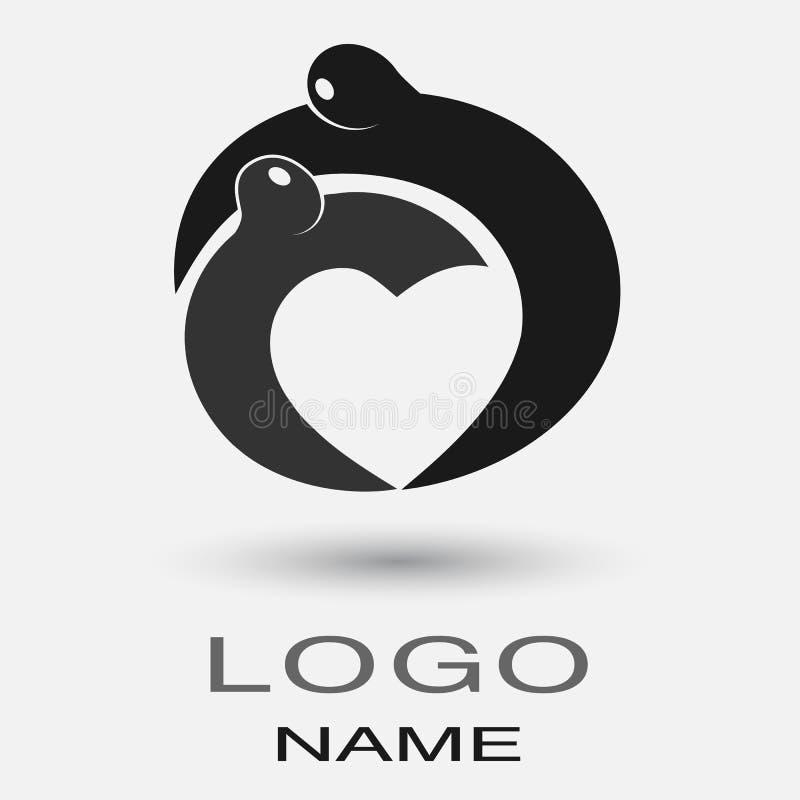 El hombre del icono del logotipo abraza a la mujer que forma el corazón de las manos Pares del amor que comparten el abrazo Hombr libre illustration