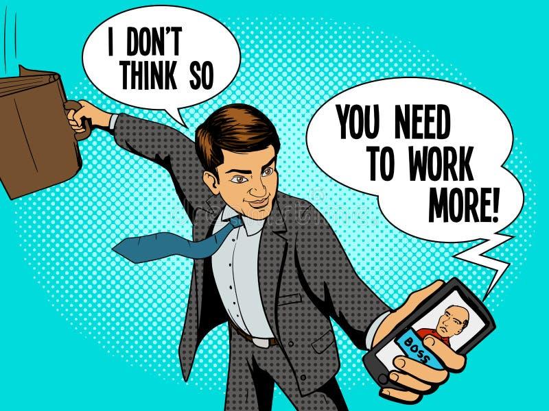 El hombre del oficinista habla con vector del jefe libre illustration