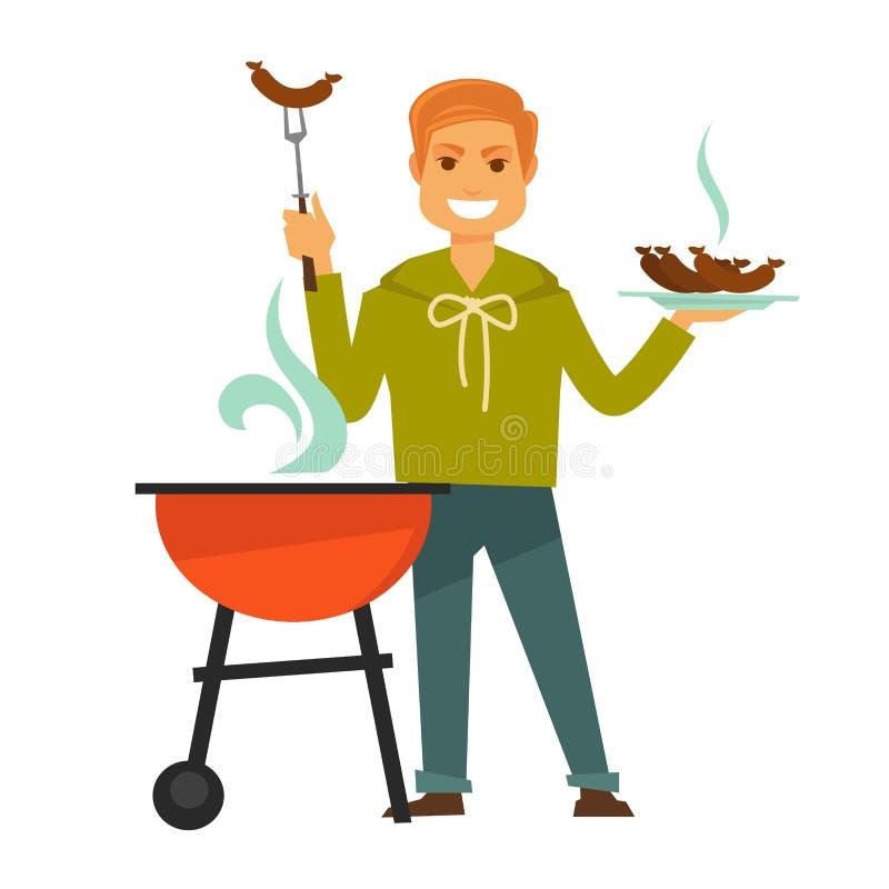 El hombre del pelirrojo cocina el ejemplo aislado las salchichas deliciosas de la barbacoa libre illustration