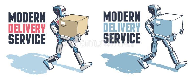 El hombre del robot lleva una caja del paquete stock de ilustración
