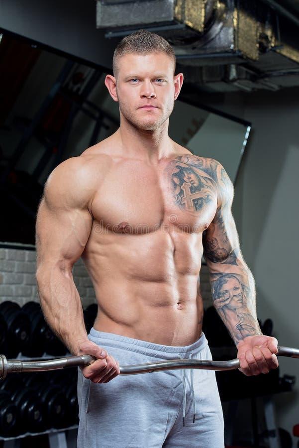 El hombre descamisado muscular con los ojos azules y el tatuaje en un gris jadea haciendo rizos del bíceps con la barra del rizo  fotos de archivo libres de regalías