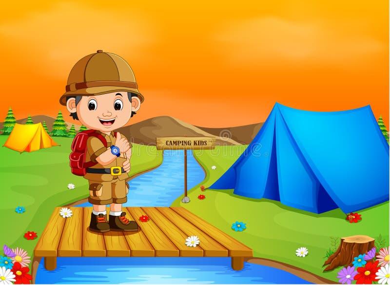 El hombre disfruta de las vacaciones tropicales de Forest Traveler Hiking On Adventure de la visión libre illustration