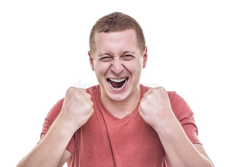 El hombre disfruta la victoria fotos de archivo