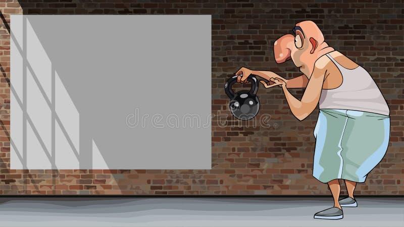 El hombre divertido de la historieta muestra un kettlebell y mira una cartelera en blanco stock de ilustración