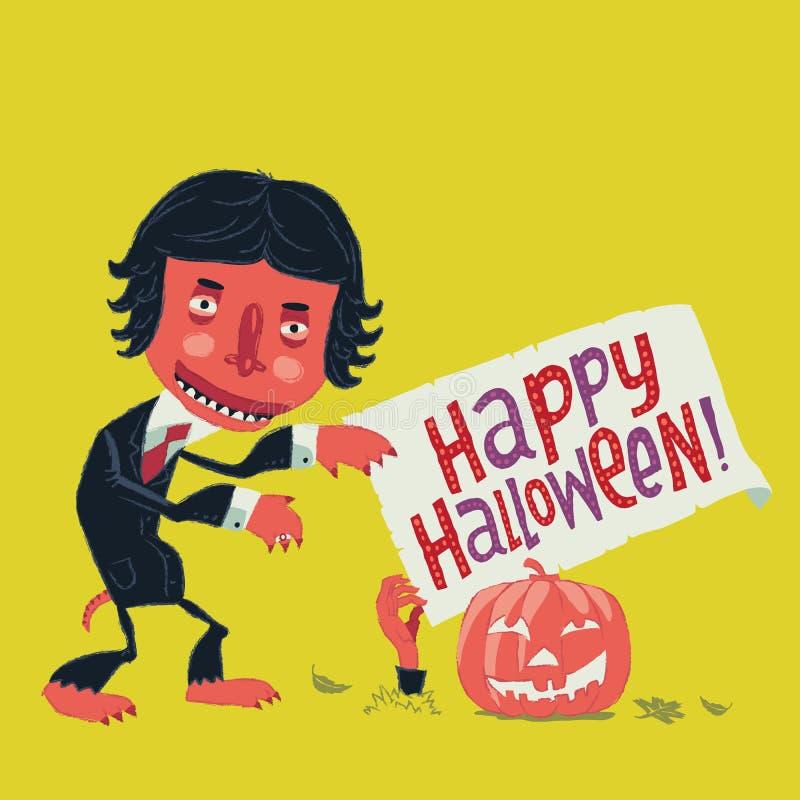El hombre divertido del zombi en un traje va en un partido de Halloween stock de ilustración