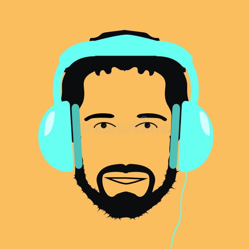 El hombre DJ con el icono azul de los auriculares vector stock de ilustración