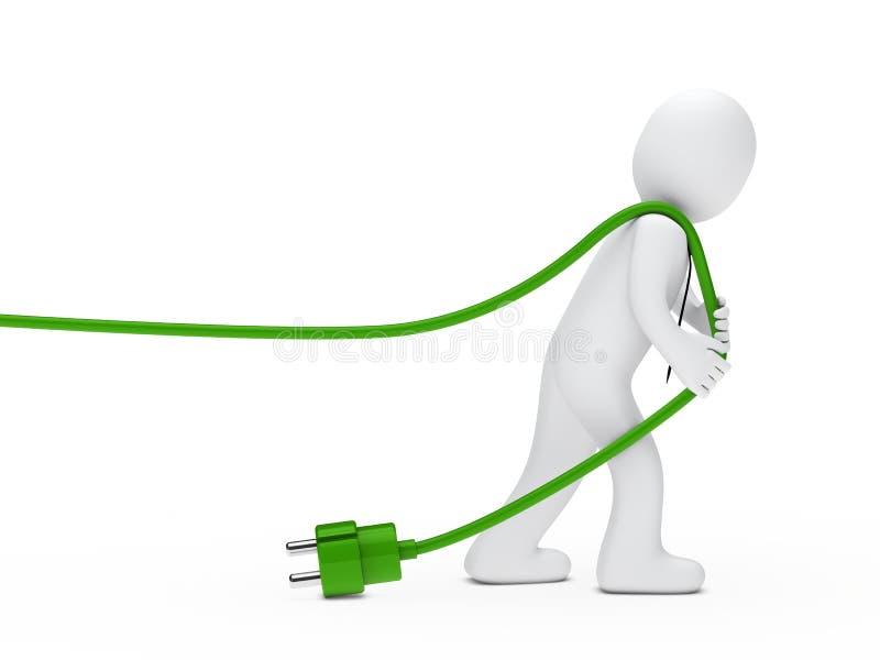 El hombre drena un cable stock de ilustración