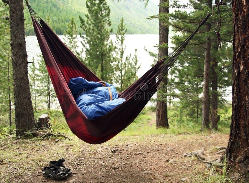 El hombre duerme en una hamaca y en dormir fotografía de archivo libre de regalías