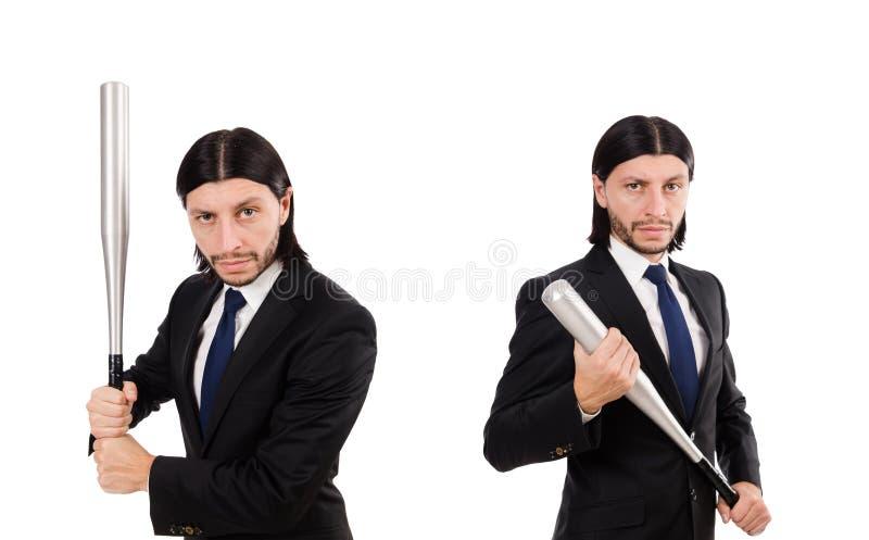 El hombre elegante joven en el traje negro aislado en blanco imagen de archivo