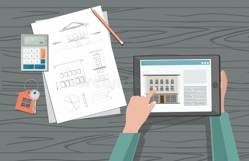 El hombre elige la venta y la compra a casa Concepto del alquiler de casa ilustración del vector