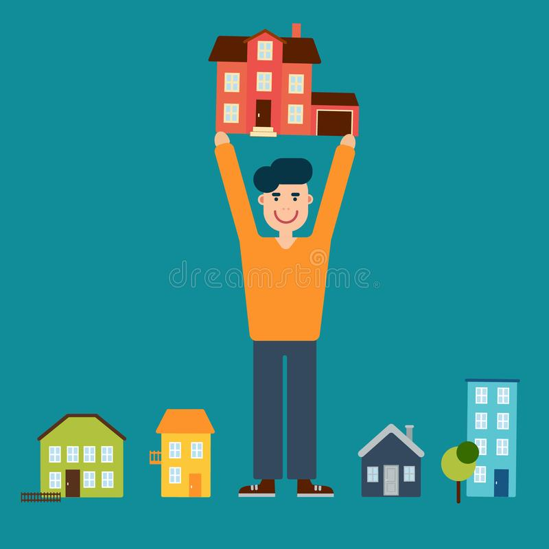 El hombre eligió una casa para comprar o para alquilar foto de archivo