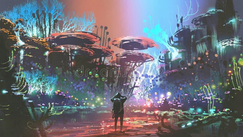 El hombre en bosque coralino colorido ilustración del vector