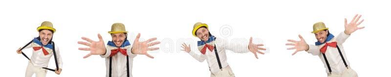 El hombre en concepto divertido aislado en blanco imagen de archivo