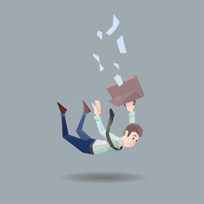 El hombre en desgaste de la oficina se cae de un edificio en fondo gris plano stock de ilustración