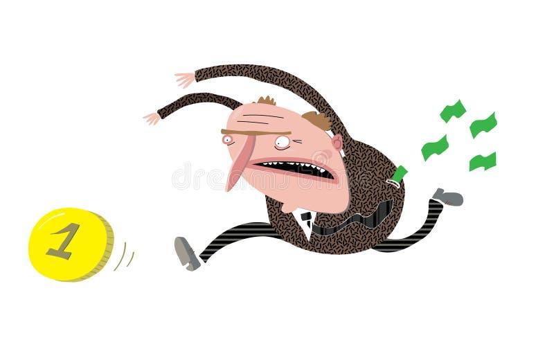 El hombre en el traje que persigue una moneda, pierde efectivo libre illustration