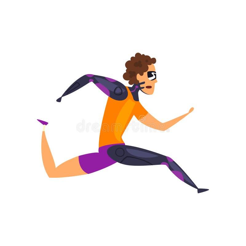 El hombre en el funcionamiento futurista de la ropa, tecnología del futuro en deportes vector el ejemplo en un fondo blanco ilustración del vector