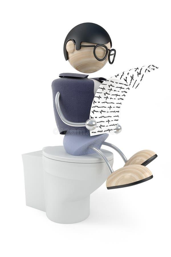 El hombre en lavabo leyó el periódico ilustración del vector