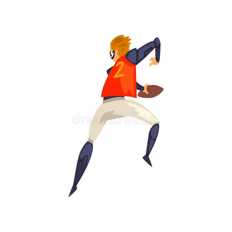 El hombre en los deportes futuristas uniforme y vidrios que juegan al rugbi, tecnología del futuro en deportes vector el ejemplo  ilustración del vector
