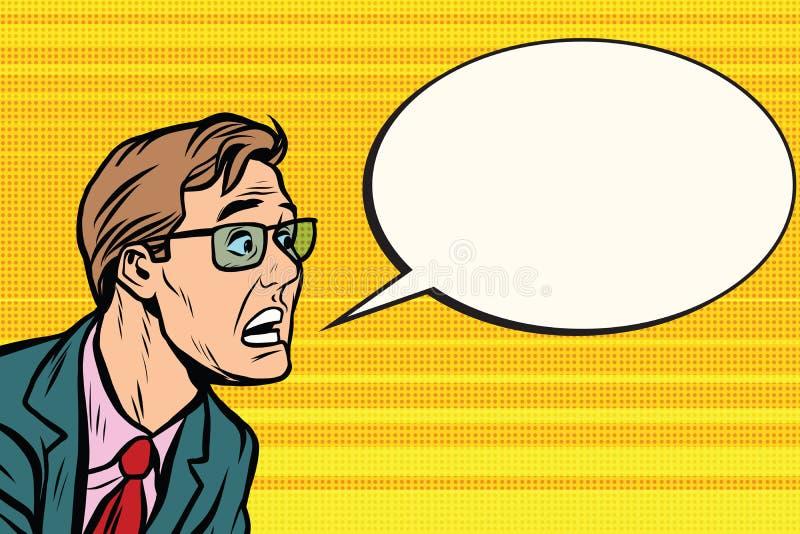 El hombre en pánico de la cara de los vidrios ilustración del vector