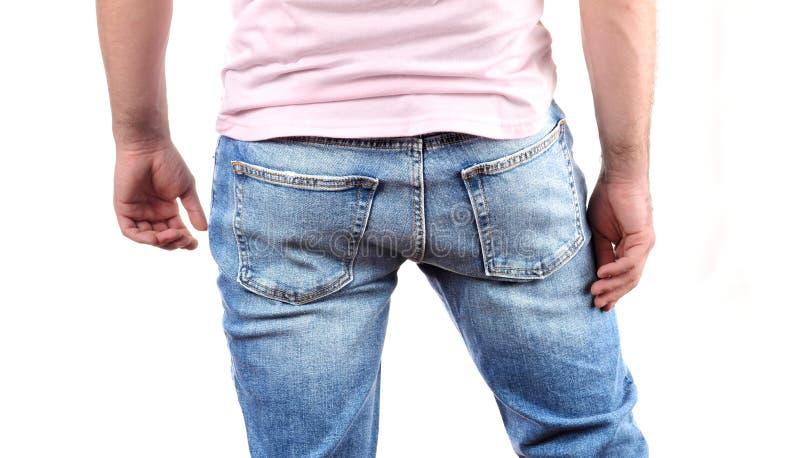 El Hombre En Pantalones Vaqueros Adentro Mueve Hacia Atras Imagen De Archivo Imagen De Vaqueros Adentro 112847759