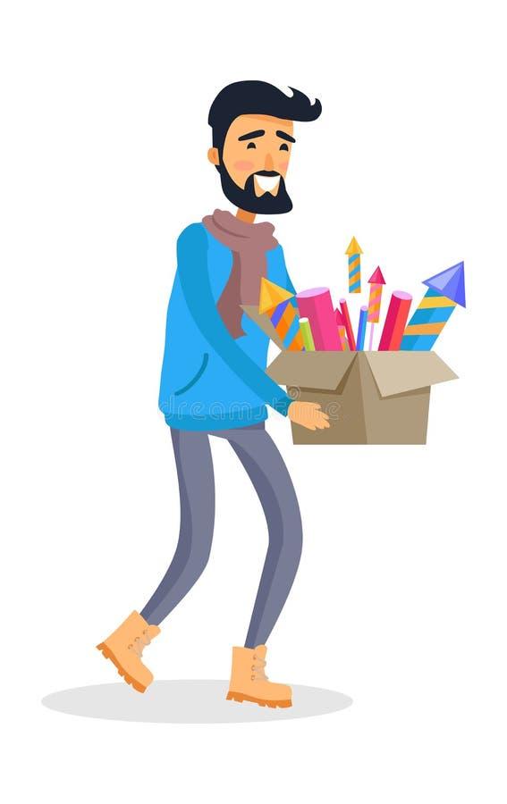 El hombre en ropa de deportes lleva la caja del cartón de fuegos artificiales stock de ilustración