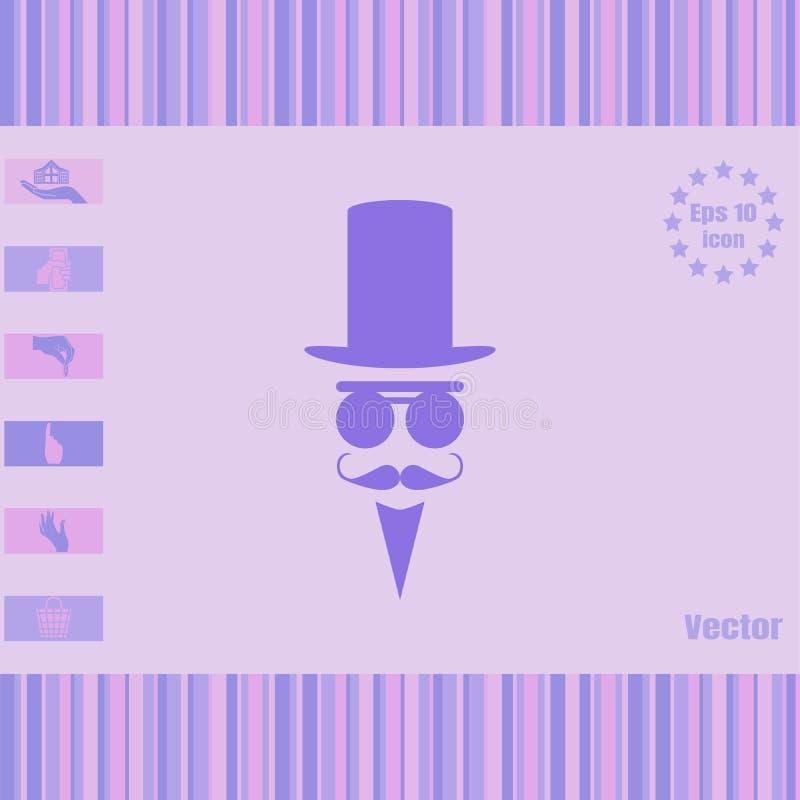El hombre en un cilindro y los vidrios vector el icono stock de ilustración