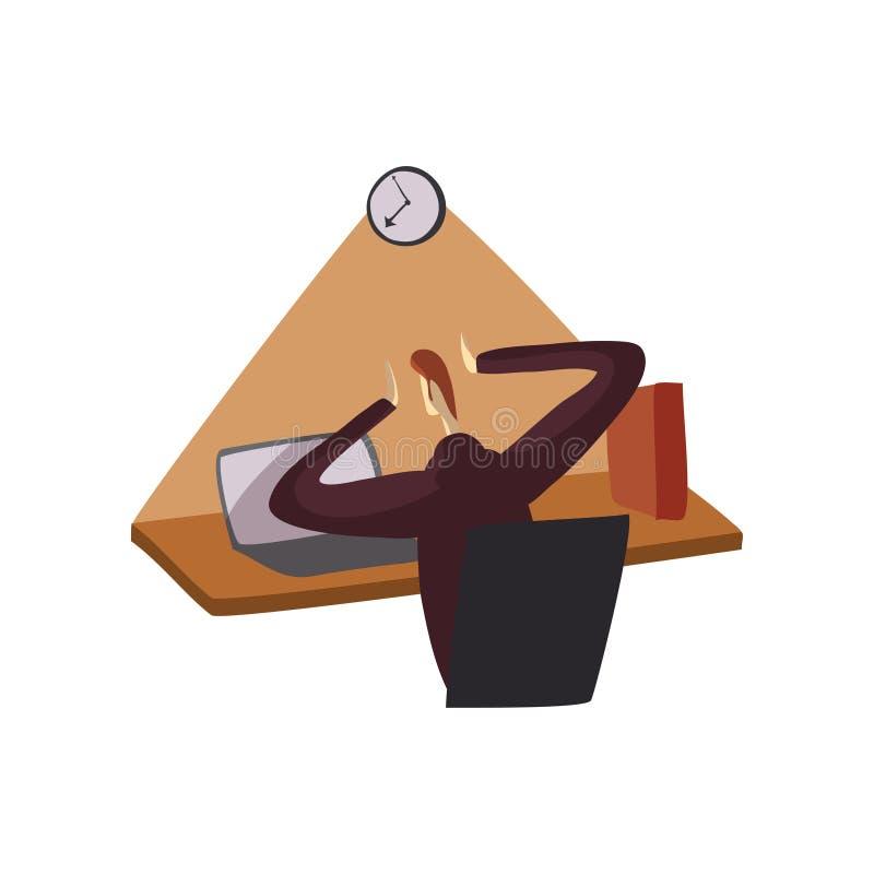 El hombre en un traje se sienta en una tabla delante de un ordenador portátil Ilustraci?n del vector en el fondo blanco ilustración del vector