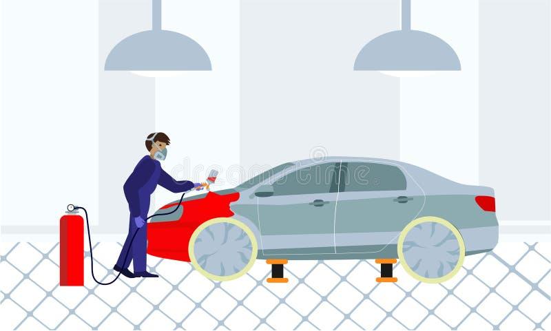 El hombre en uniforme de la protección pinta el coche con el arma de espray Servicio de la pintura del coche ilustración del vector