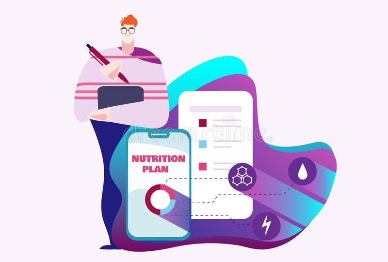 El hombre en vidrios escribe la lista de control del plan de la dieta con los iconos para la caloría, carbohidratos, grasas, prot stock de ilustración
