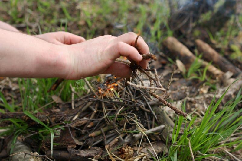 El hombre enciende un fuego en el bosque fotos de archivo libres de regalías