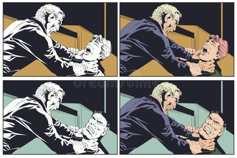 El hombre enojado estrangula otro Ilustración común ilustración del vector