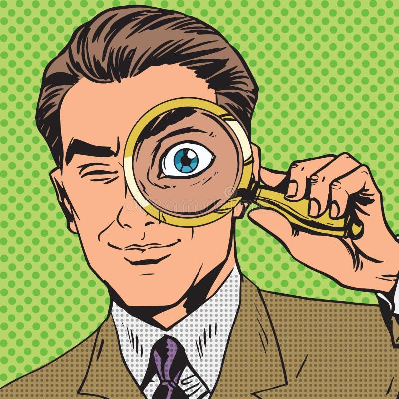 El hombre es detective que mira con magnificar ilustración del vector