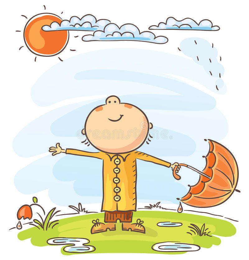 El hombre es feliz que la lluvia ha terminado stock de ilustración
