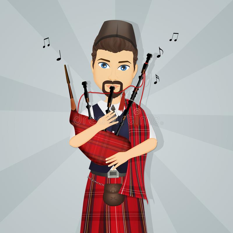 El hombre escocés toca la gaita ilustración del vector