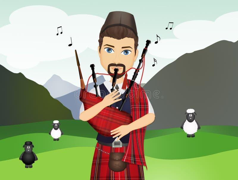 El hombre escoc?s toca la gaita ilustración del vector