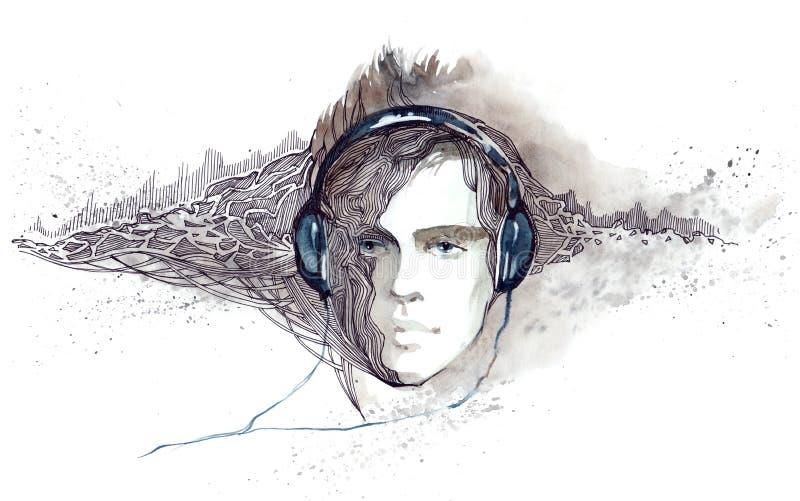 El hombre escucha la música en auriculares ilustración del vector